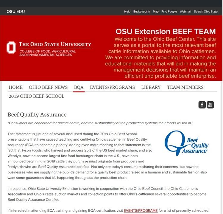 OSU Beef BQA Information